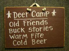 Deer Camp - Funny Wood Sign-Deer Camp Sign, Hunt camp sign, funny hunting sign, man cave decor, wood plaque deer, hunter gift