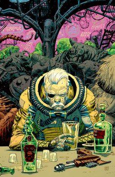 retro-futuristic, bar, sci-fi, astronaut, science fiction by brandi Art And Illustration, Character Illustration, Sci Fi Kunst, Comic Kunst, Cyberpunk, Comic Books Art, Comic Art, Book Art, Arte Sci Fi