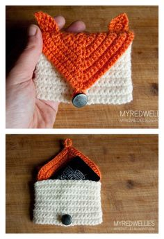 Crochet Fox Gift Card Purse Free Pattern