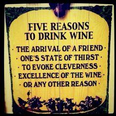 cinco razones para beber vino