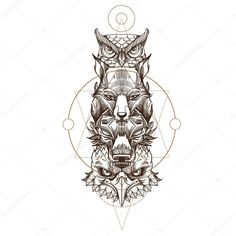 Totem eagle, wolf, fox and owl illustration for creating tattoo sketches, print on clothes, poster and flyer design. old school frases hombres hombres brazo ideas impresionantes japoneses pequeños tattoo Totem Tattoo, Unique Tattoos, New Tattoos, Tribal Tattoos, Full Tattoo, I Tattoo, Tattoo Wolf, Tattoo Sleeve Designs, Sleeve Tattoos
