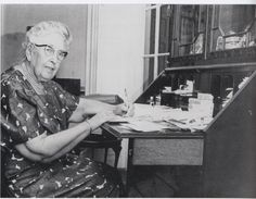 Agatha Christie at her writing desk