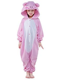 44c30984e9 Kid s Kigurumi Pajamas Piggy   Pig Onesie Pajamas Polar Fleece Pink Cosplay  For Boys and Girls Animal Sleepwear Cartoon Festival   Holiday Costumes