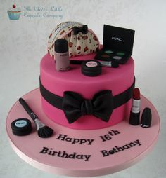 MAC Cosmetics Cake - White chocolate mud cake with hand modelled make up pieces.  The bag is made from rice kripie treats.