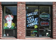 Window I painted for River Dog Daycare in Somerville, MA.     mandeeblogs
