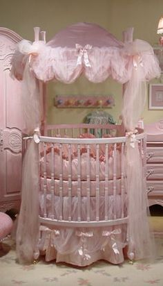 Story Book Dreams pink French round crib and silk bedding $2798 as shown