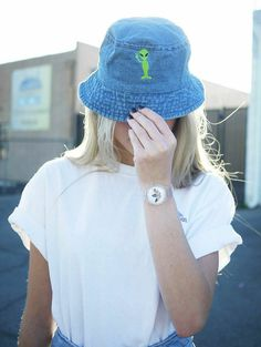 Embroidered Alien Bucket Hats Available in Denim by ShopButterface