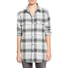 Treasure&Bond Plaid Flannel Tunic ($78) ❤ liked on Polyvore featuring tops, tunics, grey silver lines herringbone, plaid flannel tunic, tartan top, plaid tunic, long sleeve tunic and grey top