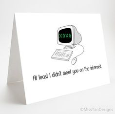 Awkward Card, No Internet Love, Funny Gift, Computer, Girlfriend Card, Gift For Him, XOXO, Valentine on Etsy, $4.00