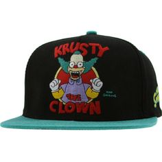 f2ca55e9ad2 Krusty the Clown Simpsons Snapback in black and teal Krusty The Clown