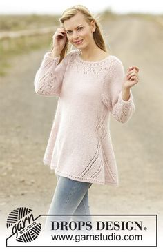 Pastel Elegance jumper with lace pattern and raglan by DROPS Design  Free Knitting Pattern