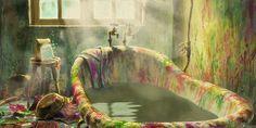 Hayao Miyazaki: 'Howl's Bathroom', scene from the touching movie: 'Howl's Moving Castle'.