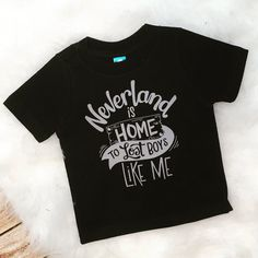 Funny Kid Tee Neverland is Home to Lost Boys quote toddler Infant Shirt Bodysuit Trap Music lyrics Peter Wendy Hook lost boy captain pan