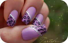 purple leopard acrylic nail art