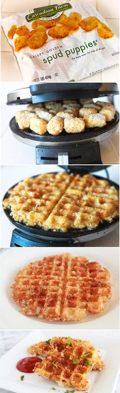 Ridiculously clever - take a frozen bag of tater tots and turn them into waffle iron hash browns in minutes