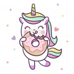 Cute Unicorn vector with Donut, Nursery decoration, Happy Summer holiday, baby animal, Kawaii pony cartoon (Pastel background): Illustration of fairytale - Perfect for kid's greeting card design. Cute Unicorn, Unicorn Donut, Cute Easy Drawings, Kawaii Drawings, Happy Summer Holidays, Donut Drawing, Unicorn Wallpaper Cute, Unicornios Wallpaper, Unicorn Illustration