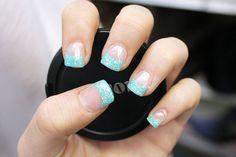 Blue glitter tips!