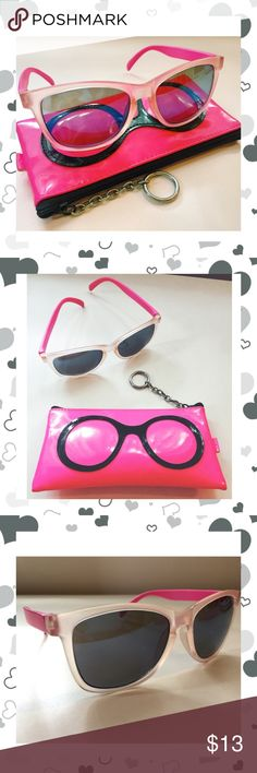 """🎀Adorable Pink Sunglasses with Case! 🕶 * hand polished China * worn once * included pink case * frame h: approx 2"""" w: 2.5"""" hand polished china Accessories Sunglasses"""