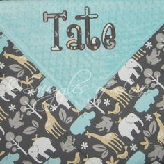Baby Blanket - Zoo Animals - PERSONALIZED - Minky and Cotton Blanket. $44.00, via Etsy.
