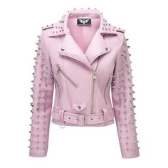 Dahlia Studded Biker Jacket [PINK] KILLSTAR ❤ liked on Polyvore featuring outerwear, jackets, studded moto jacket, motorcycle jacket, fleece-lined jackets, vegan motorcycle jacket and moto jackets