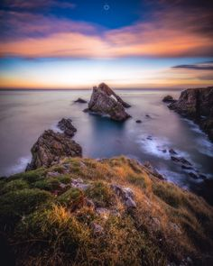 What Once Was - Bow Fiddle Rock near Portknockie in Morayshire, Scotland, just before sunset.