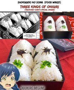 Shokugeki no Soma (Food Wars!) | Three Kinds of Onigiri | Manga/Anime/Real Life | (c) to their respective owners