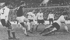 22nd November 1969. West Ham United centre forward Geoff Hurst rifles home against Derby County.