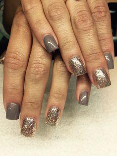 Taupe and rose gold #nails #nailart