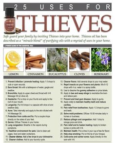 Thieves Essential Oil - 25 Uses Can't wait to get mine in the mail!!!