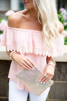 #offtheshoulder| Top| Blouse| Pink| Light| Baby| Off shoulder| Short sleeve| Arm| Patterned| Design| Pants| Jeans| Skinny| White| Necklace| Gold| Watch| Bracelet| Multiple| Layered| Pearl| Dainty| Thin| Delicate| Cuff| Bangle| Ring| Stone| Opal| Nail| White| Purse| Clutch| Metallic| Lip| Bright| Summer| Spring| P386