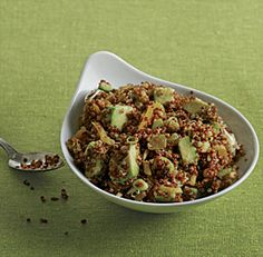 Quinoa and Avocado Salad with Dried Fruit, Toasted Almonds, and Lemon-Cumin Vinaigrette