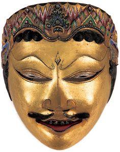 Dance mask of Kuda Narawangsa, late 19th century - wood, gold,  gemstones, leather, horse hair. Yogyakarta, Central Java, Indonesia. National Museum of Indonesia, Jakarta. Photo courtesy nga.gov.au