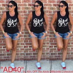 The Boss is slaying in her Badass muscle tee! Summer essentials: fresh kicks & trending sunglasses  Get the tank 40% OFF as its part of Alicia's Collection and her ENTIRE collection is on sale!  USE CODE: AD40  SHOP: http://ift.tt/1rNgIir WORLDWIDE SHIPPING