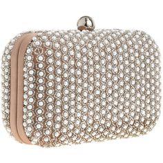 SANTI Pearly Clutch (16.475 RUB) ❤ liked on Polyvore featuring bags, handbags, clutches, purses, bolsas, borse, kiss-lock handbags, santi purse, brown purse and man bag