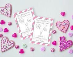 Pink Dandelion Valentine, You are Dandy Valentine