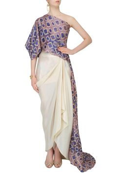 ANOLI SHAH Blue Printed One Shoulder Cape And Off White Drapped Skirt Set