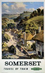 Somerset, Travel by Train.  British Railways (Western Region) Travel Poster