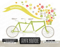 Tandem Bicycle Flower Basket Vector Clip Art | Collection of high quality vector images from GrafikBoutique.   Can be used for: paper stationery (invitations, cards, labels, tags, wrapping paper, packaging), digital or paper scrapbooking, home decor and other DIY projects.