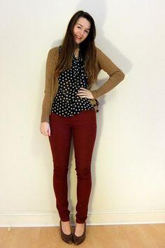 polka dot blouse and burgundy jeans