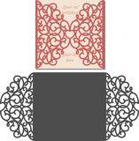 Vector: Laser Cut Invitation Card. Laser cutting pattern for invitation wedding card. Wedding invitation envelope template.