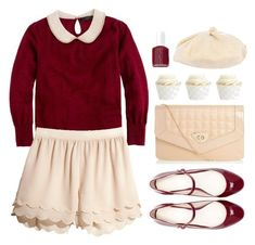 """""""Greet the Season"""" by sweetpastelady ❤ liked on Polyvore featuring J.Crew, H&M, Zara, Essie, Grace Hats, red and Sweater"""