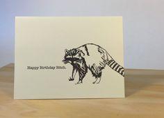 Happy Birthday Raccoon Letterpress Card by CoffeenCreamPress