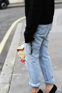 Isabel Marant knit and poppy heels & Levis 501 vintage jeans. Via Mija