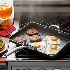 Calphalon Unison Nonstick Short Order Griddle  This oversized, non-stick griddle is so big you can throw the whole meal on there and cook it all in one shot. One pan also means less to clean up when you're done. Just throw it in the dish washer and head to the couch