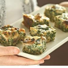 Spinach, Mushroom and Swiss Crustless Quiche Squares Recipe