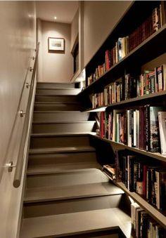 grey stairs & beautiful books