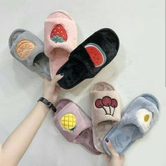 house slippers cute fox fur slides women shoes New fruit fur slippers flat soles casual slippers flip flops women shoes size 10 Winter Slippers, Cute Slippers, Mode Adidas, Cute Sleepwear, Brown Bottles, Cute Pajamas, Fruit Pattern, Tumblr Outfits, Trendy Accessories