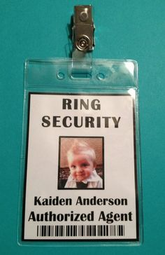 Ring Security Badge - Ring Bearer - Ring Security Agent. $12.00, via Etsy.