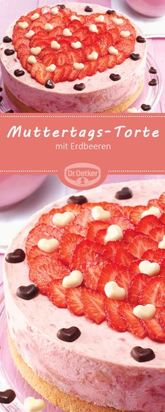 Mother's Day Cake: A fruity strawberry cake for summer day ., day food platters Mother& Day Cake: A fruity strawberry cake for summer day . Drip Cakes, Sweet Recipes, Cake Recipes, Mousse, Mothers Day Cake, Food Platters, Tortellini, Vegan Baking, No Bake Cake