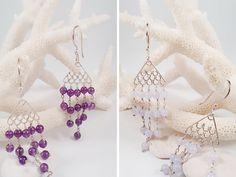 Amethyst Beaded Chandelier Earrings, Blue Lace Agate Earrings, Sterling Silver Earrings, Mermaid Earrings,Fish Tail Earrings,Fringe Earrings by AtehModus on Etsy